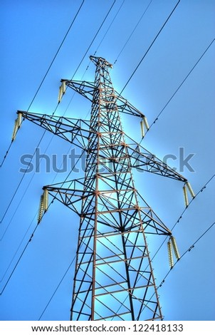 Electricity pylon and lines - stock photo