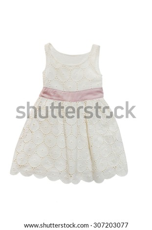 elegant dress for the little lady,  isolated on white. - stock photo
