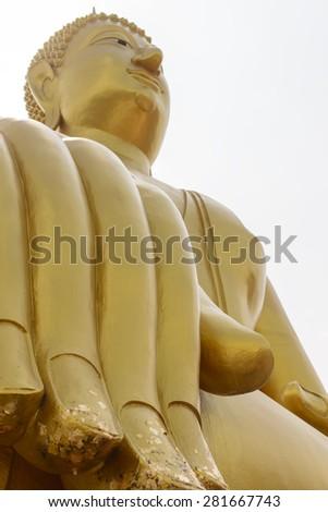 Elegant golden Big Buddha Buddhist Thailand - stock photo
