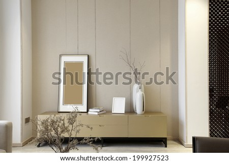 Elegant house interiors,TV wall - stock photo