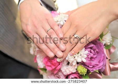 Elegant roses wedding bouquet of decorated in terraced - stock photo