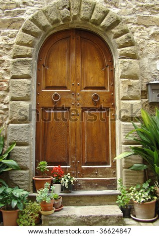 elegant tuscan entrance - stock photo