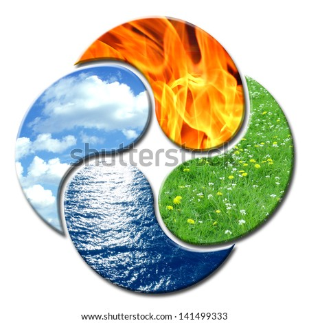 4 Elements forming a floral composition of Yin and Yang - stock photo