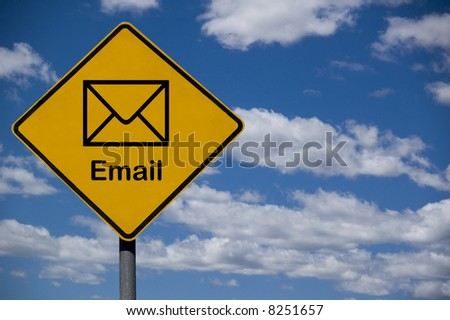 """Email"" road sign against a blue sky background - stock photo"