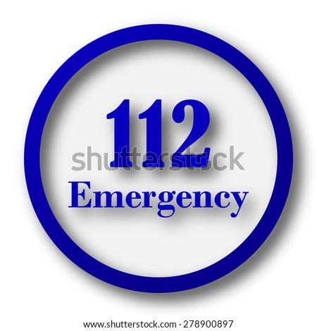 112 Emergency icon. Blue internet button on white background.  - stock photo