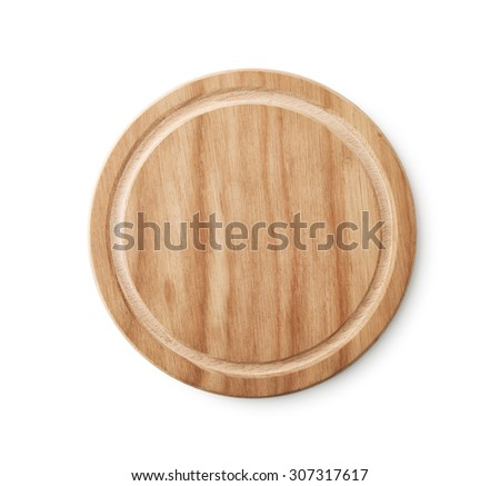 Empty Brown Wooden Plate , Top view , Clipping path - stock photo