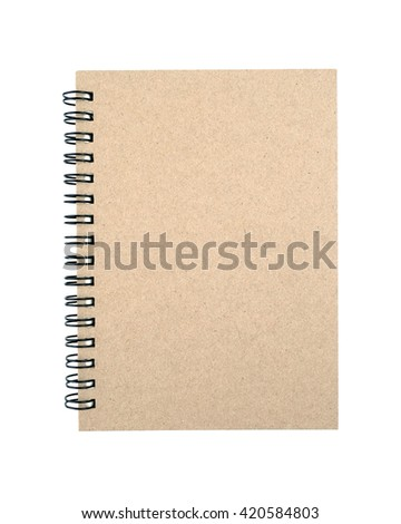 Empty cover notebook isolated on white background. with clipping path. - stock photo