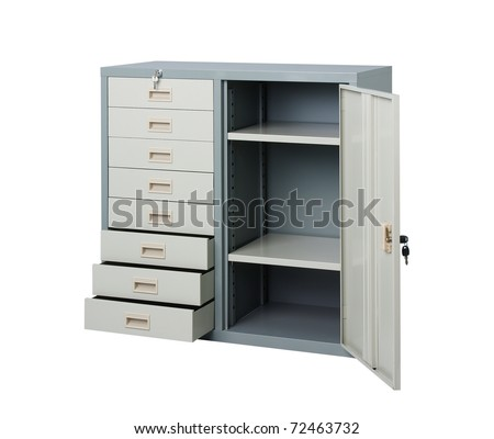Empty cupboard with drawers and locker opened for your ideas and creativity to putting into the free spaces - stock photo