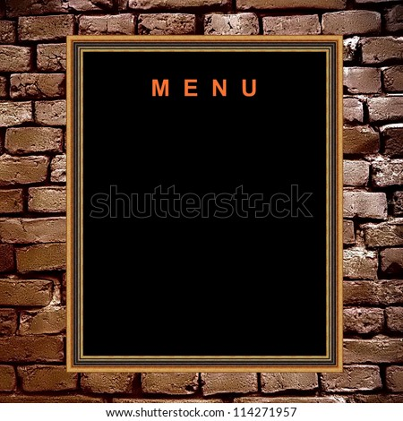 Empty menu board cutout - stock photo