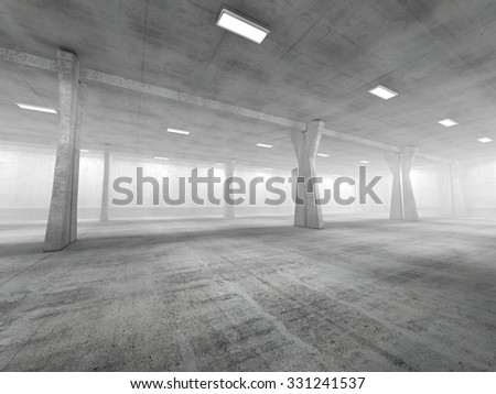 Empty underground parking area 3D rendering image - stock photo