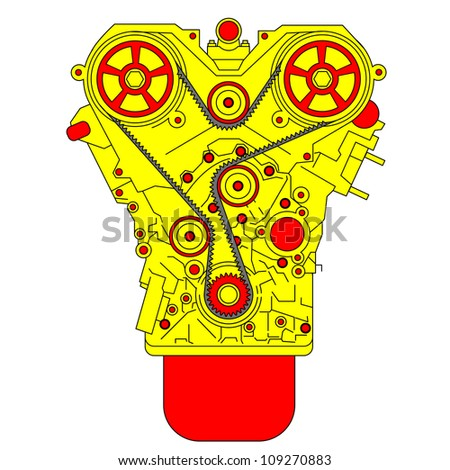engine, as seen from in front.  illustration. - stock photo