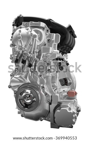 Engine of concept car isolated on white background with clipping path - stock photo