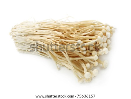 Enoki mushrooms isolated on white background - stock photo