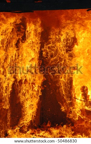 """Enter the Inferno"" Douglas County Fire District #2 Burn to Learn, Hwy 99S, near Roseburg OR - stock photo"
