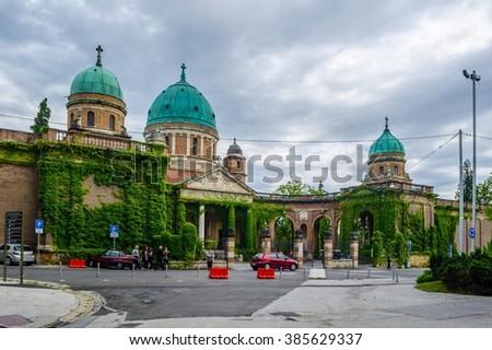 Entrance to Mirogoj cemetery with Church of King Christ in Zagreb, Croatia - stock photo