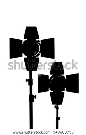 Equipment for photo studios and fashion photography. Black silhouette on white background - stock photo