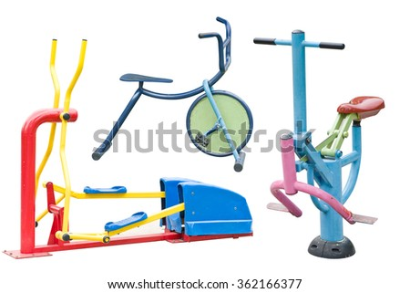 equipment in a playground on white with work path ,Play things . - stock photo