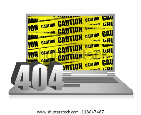404 error laptop illustration design over white background - stock photo