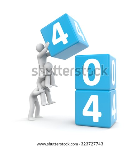 404 error. Teamwork - stock photo