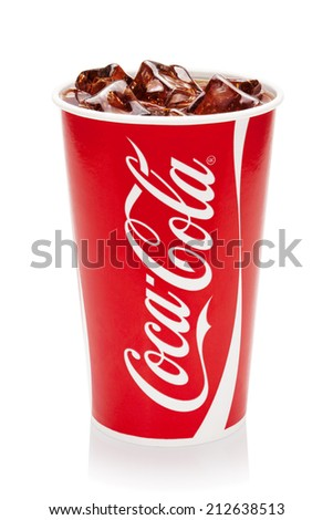 ESTONIA-AUGUST 16, 2014.Coca-Cola with ice cubes in cup, isolated on the white background.Coca-Cola Company is the leading manufacturer of soda drinks in the world. Illustrative editorial photo. - stock photo