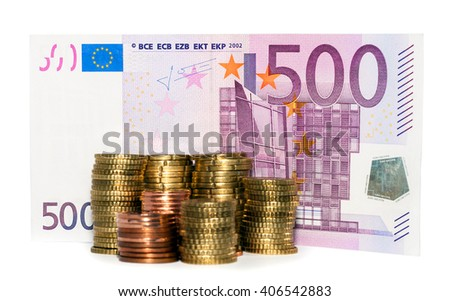 500 euro banknote and stack Euro coins collection set isolated on white backgound - stock photo