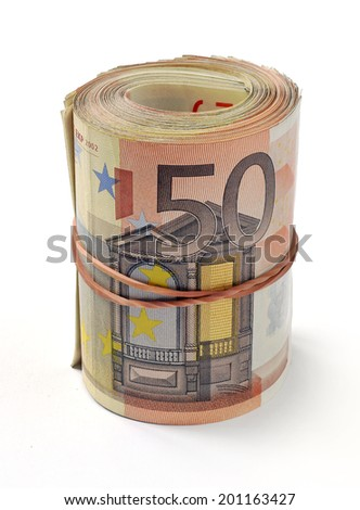 50 euro banknote folded in a roll - stock photo