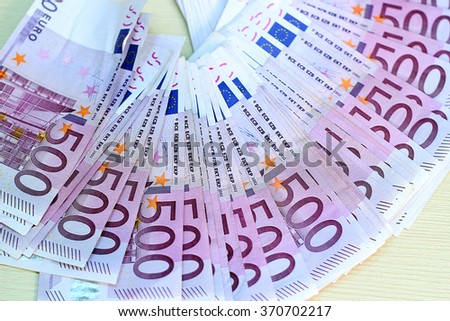 500 Euro Banknotes in a Row. European Union Currency. Counting Money. Business. - stock photo