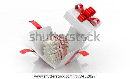 50 euro banknotes stacks in opened giftbox with red ribbon, isolated on white background, 3d rendering - stock photo