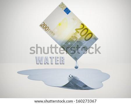200 Euro bill drips freshwater - stock photo