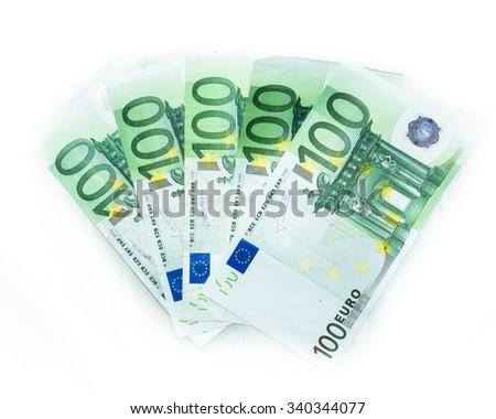 100 euro bills  euro banknotes money. European Union Currency - stock photo