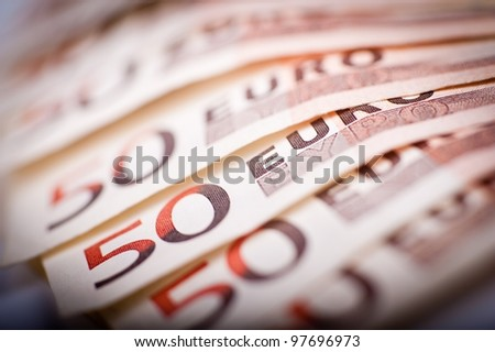 50 Euro Bills. Fifty Euros Bills in Macro Photography. - stock photo