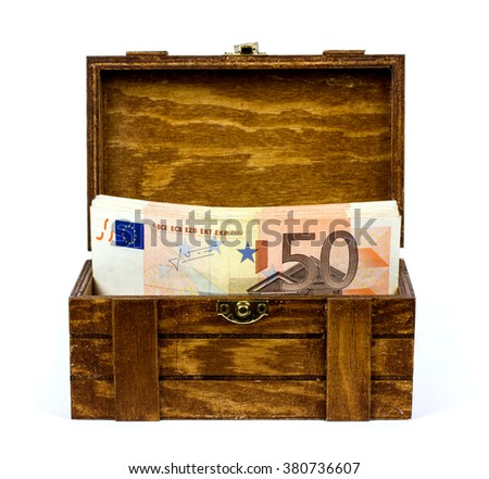 Euro bills in a wooden box - stock photo