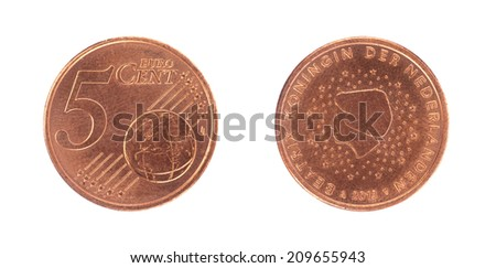 5 euro cent coin, isolated on white - stock photo