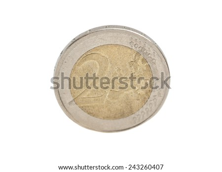2 Euro cent coin isolated on white - stock photo