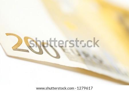 200 euro close up, shallow dof - stock photo