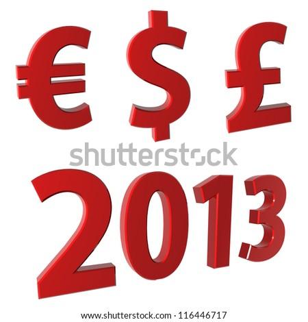 2013, euro, dollar and lira - stock photo