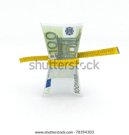 100 euro money in measuring tape 3d illustration - stock photo