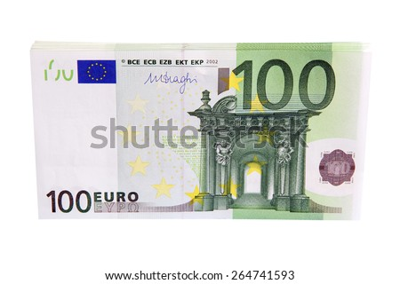 100 Euro money stack isolated on white background - stock photo