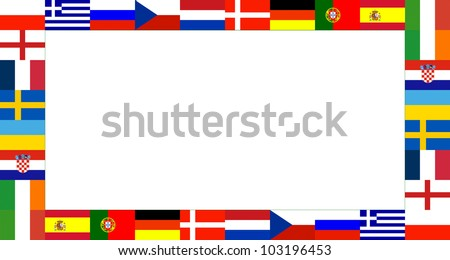 16 euro National flag Frame Pattern with white background in year 2012 - stock photo