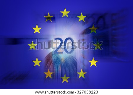 20 euros and EU flag - Finance concept - stock photo