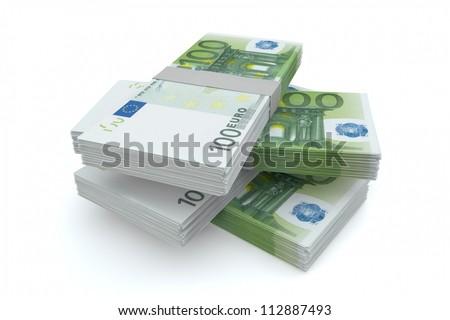 100 Euros money stack isolated on white background - stock photo