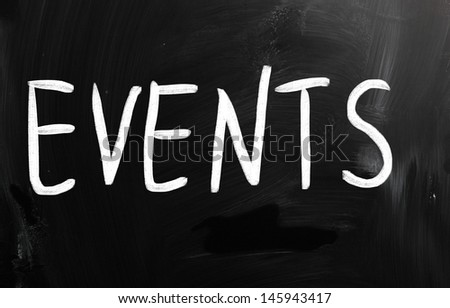 """Events"" handwritten with white chalk on a blackboard - stock photo"