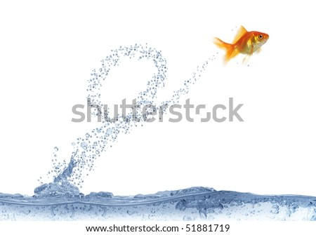 executing after loop jump on white background fish - stock photo