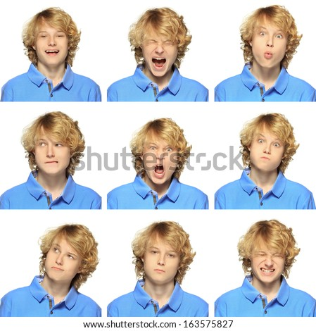 expression collection  of  teenage boy with curly blond hair on white - stock photo