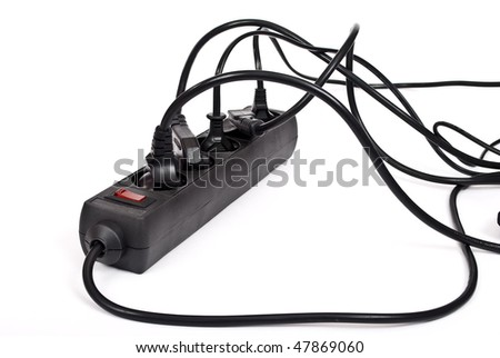 Extension cord with plugs - stock photo