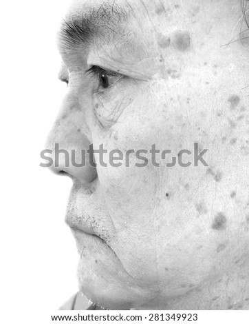 facial expression of aged person . side view profile close up . black and white - stock photo