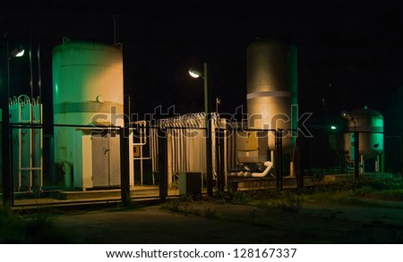 Facility of storage of gas in hospital. Lighting at night - stock photo