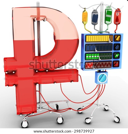 4 Factors that affect the value of the Russian Ruble: gold price, oil price, the value of the foreign currency over domestic currency, terrorist attacks or wars. Health of RUB Currency Concept.   - stock photo