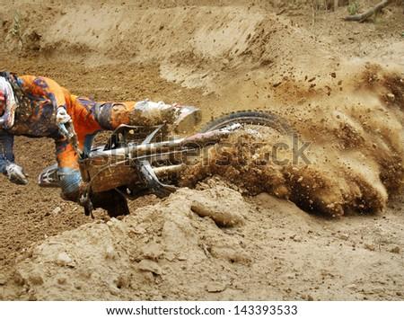 Fall of rider motocross - stock photo