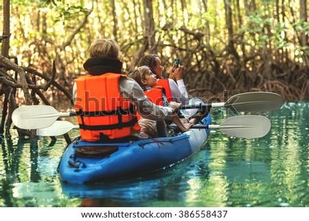 family kayaking and makes selfieâ?¨ - stock photo